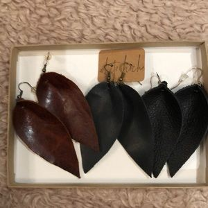 Accessories - Pack of three Handmade leather earrings
